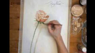 Pink Rose Painted Flower Valentines day Gift Speedpaint time lapse, watercolor painting