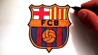 ... what you'll need to draw the fc barcelona logo: pencil eraser ruler compass mustard color marker red yellow d...