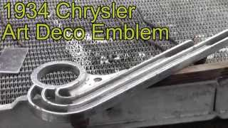 Rare 1934 Chrysler CX Airflow Town Sedan Art Deco side skirt emblem repair