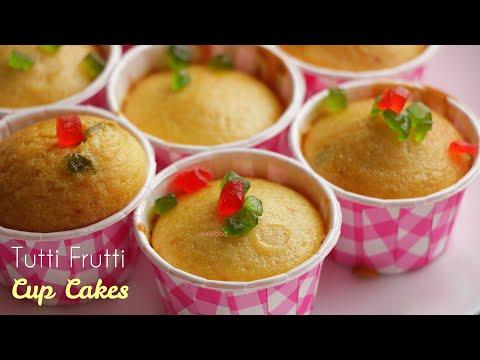 Eggless Tutti Frutti Cup Cakes|టూటీ ఫ్రూటీ కప్ కేక్స్|అన్నీ ఇంట్లో ఉండే వాటితోనే స్పాంజ్ కేక్