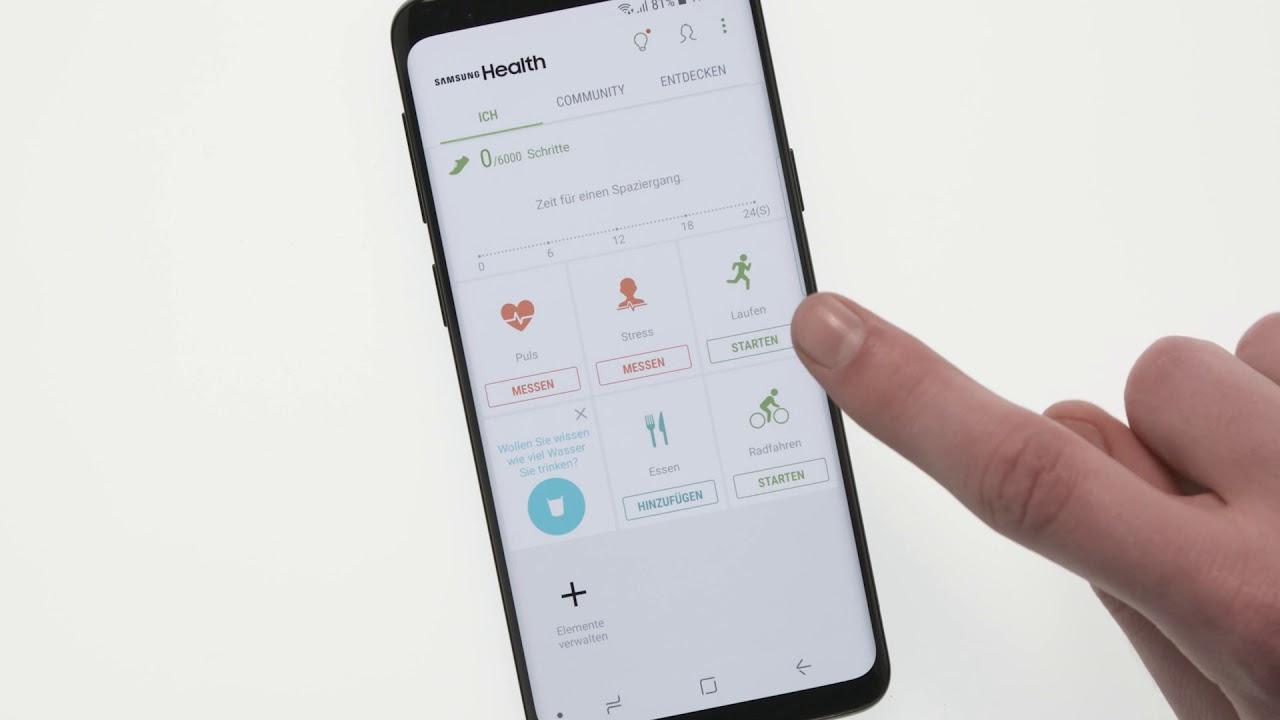 Samsung Galaxy S9 Verwendung Von Samsung S Health Youtube