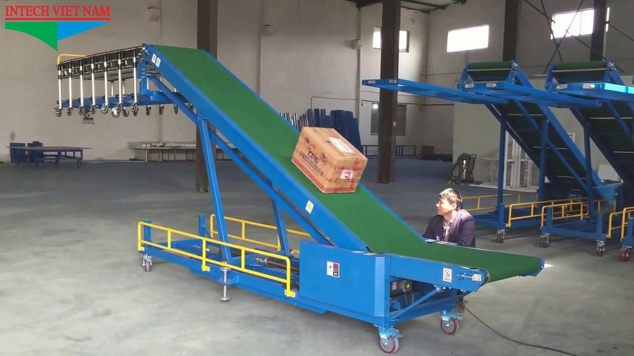 Băng tải nâng hạ – Băng tải chuyển hàng lên xe ô tô, container – Băng tải INTECH