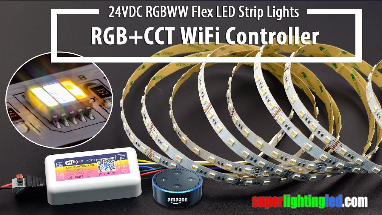 new style 7863d 1a55d RGB+CCT 5in1 24VDC LED Strip Lights Works With WiFi RGBWW Alexa Controller