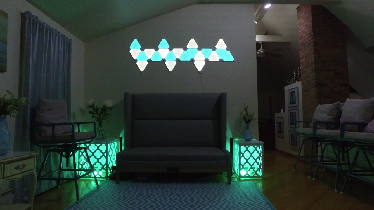 Philips Hue And Nanoleaf Aurora Lights In Living Tour