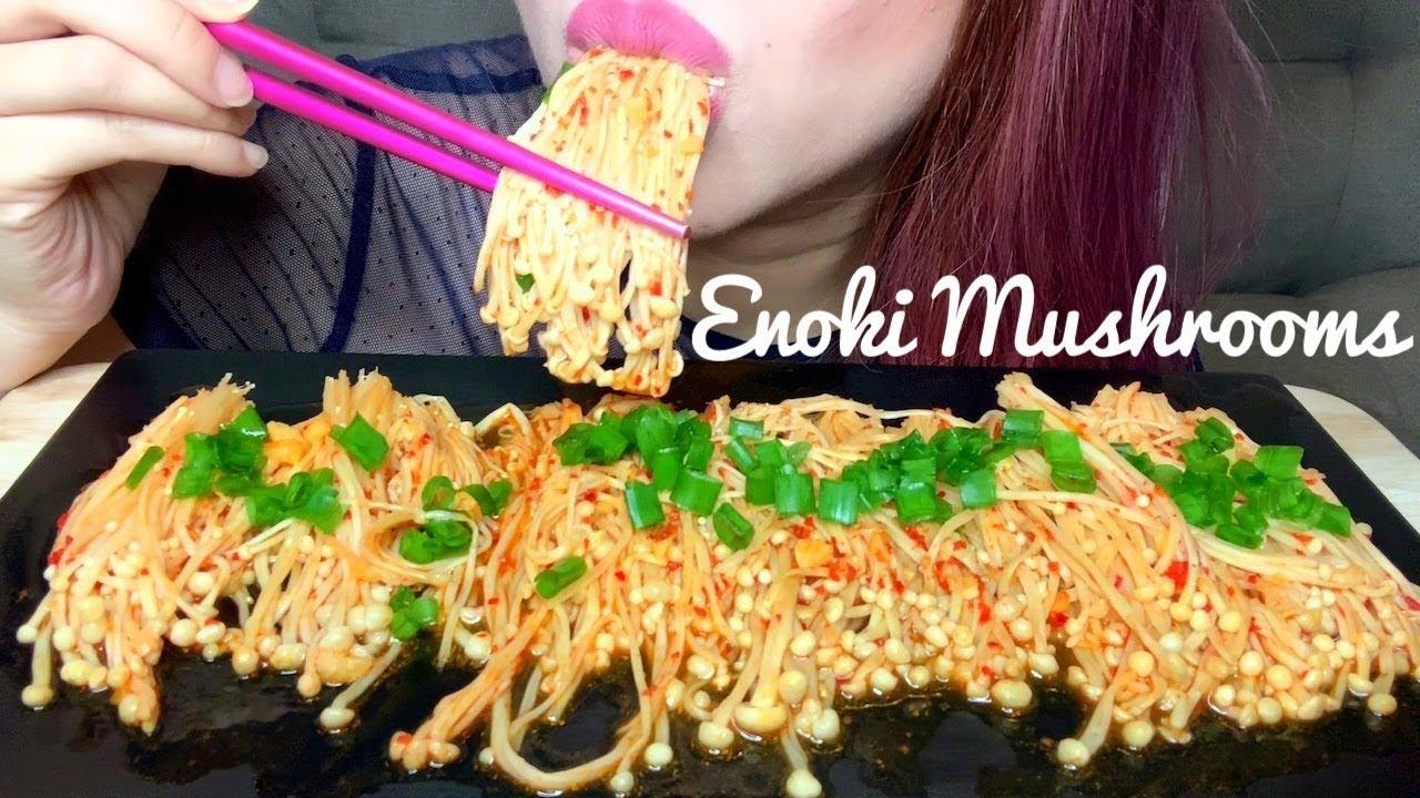 Asmr Spicy Enoki Mushrooms Recipe Eating Sounds No Talking Youtube