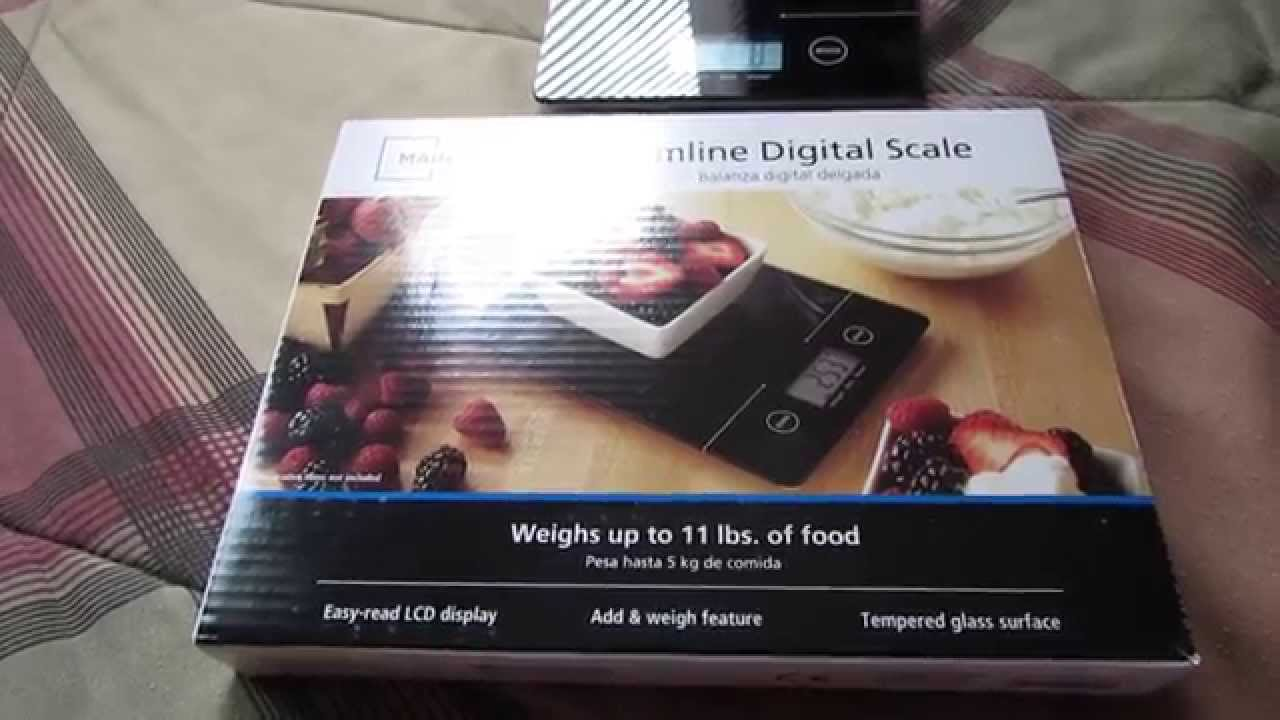 Mainstays slimeline digital scale review youtube for How much is a kitchen scale