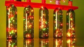 Las luces de Navidad utilizando botellas de vino recicladas thumbnail