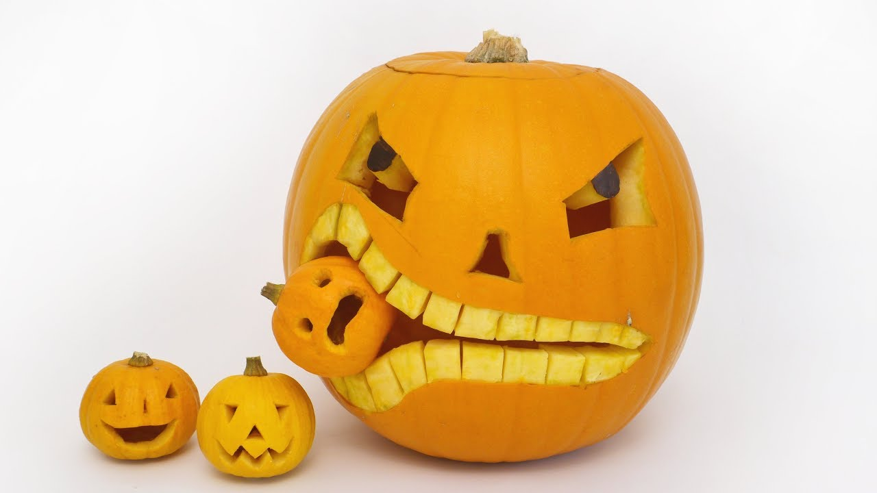how to carve a pumpkin eating a pumpkin - halloween - youtube