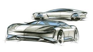 Car Design Sketch(PORSCHE Mission E)