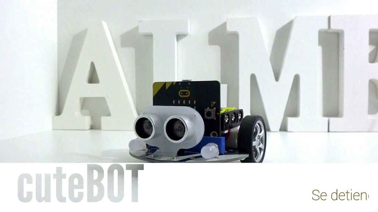 Cutebot para micro:bit. Incorpora sensor de ultrasonidos y sigue-líneas.