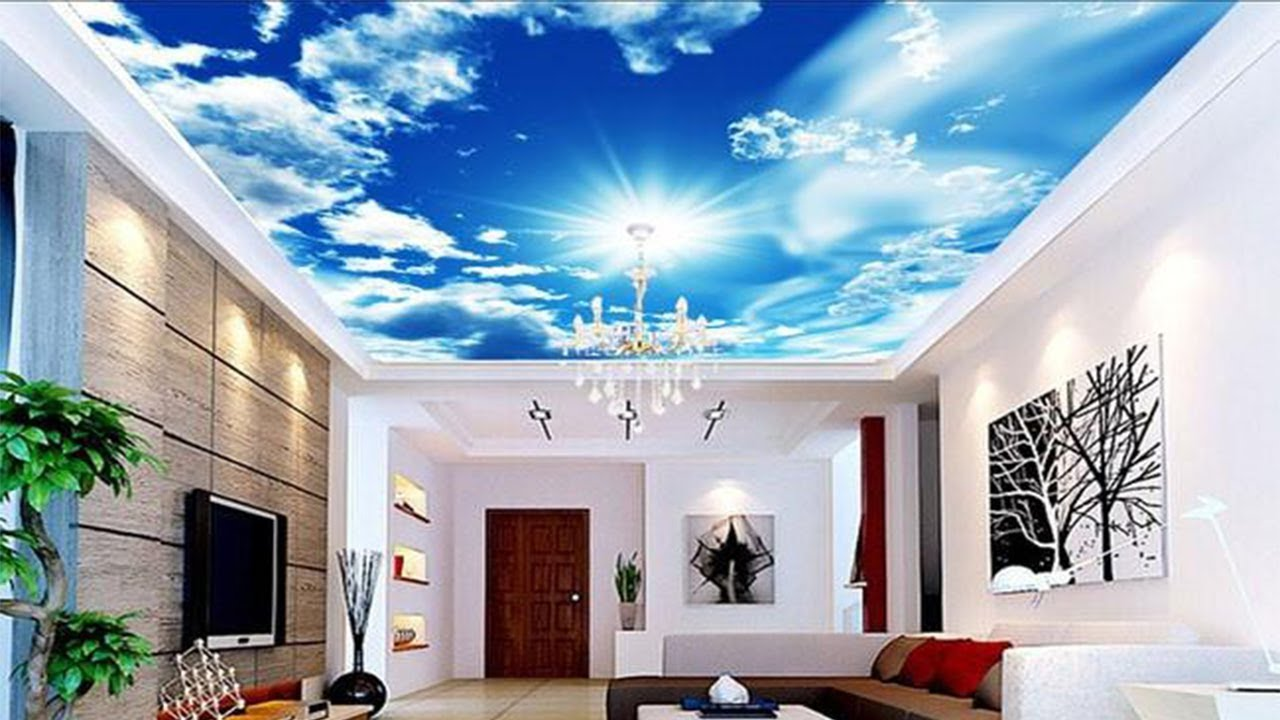 3D Wall Mural Blue Sky False Ceiling For Living Room - YouTube |Design Wall Murals
