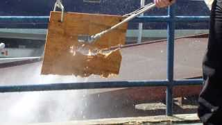 Diesel Powered 7000 Psi Pressure Washer Cutting A Sheet Of Plywood In Half. Insane Power!