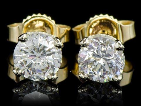 Золотые серьги-пусеты с бриллиантами 0.84 карат
