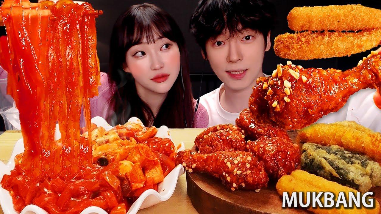 ASMR MUKBANG 떡볶이 양념치킨 김밥 치즈스틱 새우튀김 먹방 FRIED CHICKEN AND Tteokbokki EATING