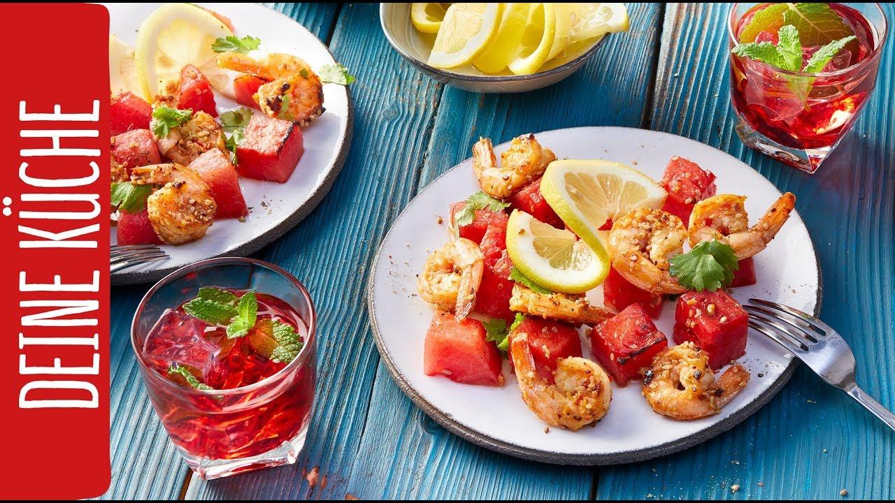 Karamellisierte Melone mit Garnelen   REWE Deine Küche