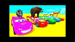 COLORS MCQUEEN, TRUCK & ANIMALS with Superheroes Animation Cartoon COLOR & Animals for Children