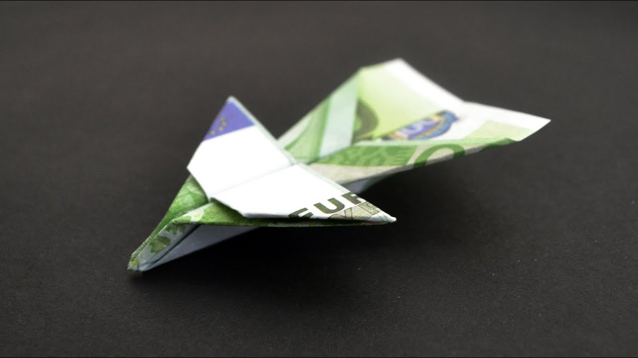 Origami Flugzeug Euro Geldschein Geld Falten Money Plane Euro Bills Origami Tutorial