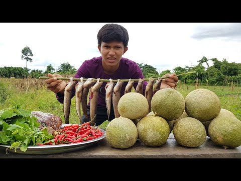 Have you ever cook food with this fruit Cooking Wood Apple with Fish Recipe in Village