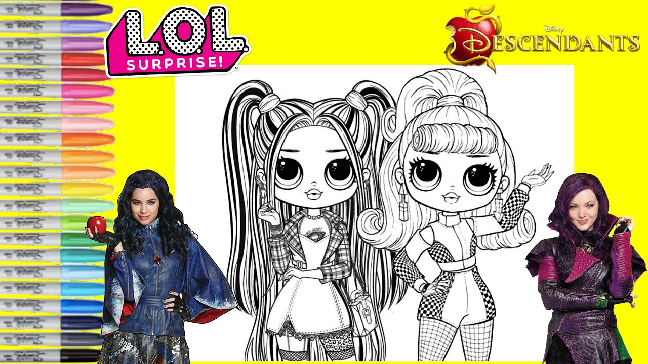 Lol Surprise Omg Dolls Makeover As Disney Descendants Mal And Evie Lol Surprise Coloring Book Page Youtube