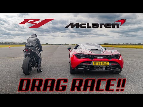 DRAG RACE!! MCLAREN 720S Vs YAMAHA R1