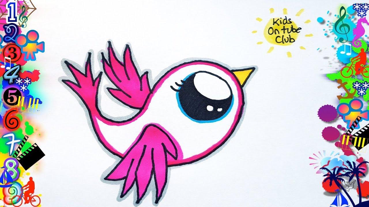 Como Dibujar Un Pajaro Kawaii Facil Para Niños Dibujos