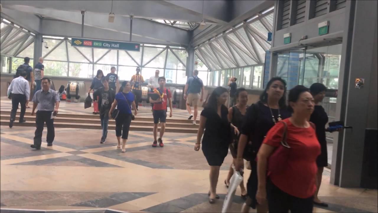 Raffles City Entrance To City Hall Mrt Station Singapore Youtube