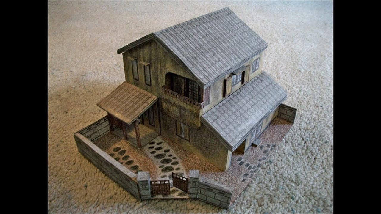 paper model of the cursed house from the movie the grudge youtube. Black Bedroom Furniture Sets. Home Design Ideas