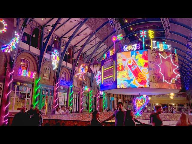 London's Covent Garden Neon Lights by Chila Burman, Sep 2021 [4K HDR]