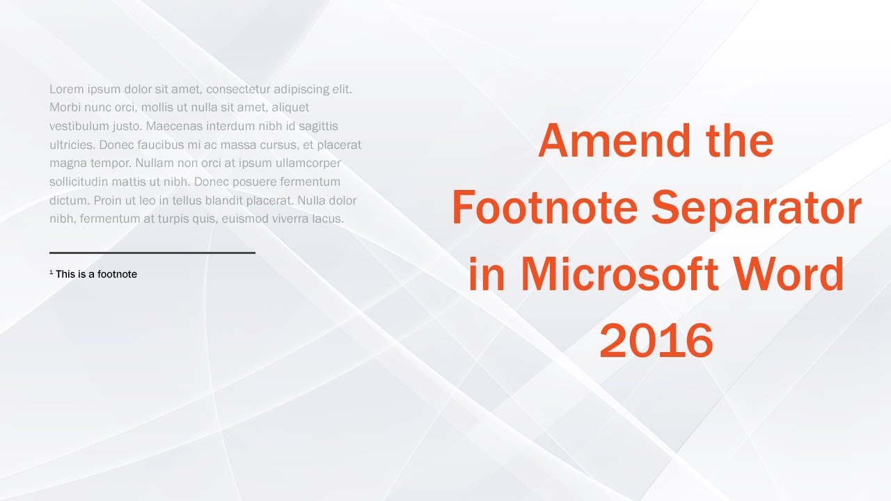 Amend Footnote Separator In Microsoft Word 2016 Youtube