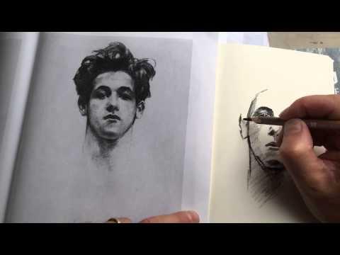 Time Lapse of charcoal study in Moleskine sketchbook of John Singer Sargent portrait.