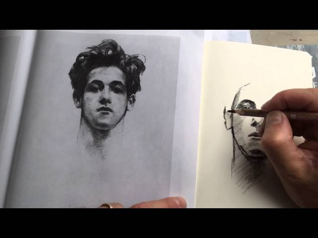 Time Lapse of charcoal study in Moleskine sketchbook of John Singer Sargent portrait.