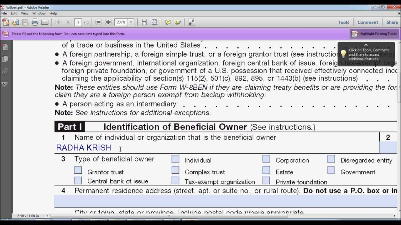 How to Fill Out W-8BEN Form? [Instructions] - YouTube