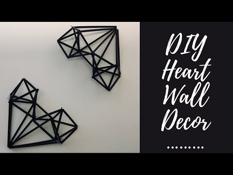 DIY geometric heart wall decor - drinking straw craft