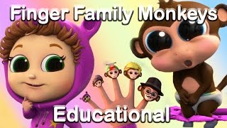 Finger Family Song With The 5 Little Monkeys Learn Numbers Educational Nursery Rhymes