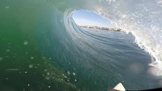 Surfing a few tubes in La Jolla