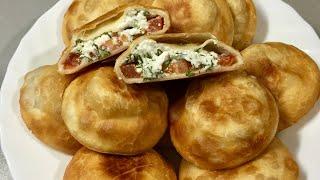 Пирожки БОМБОЧКИ с брынзой и помидорами. Вкуснейшие жареные пирожки без яиц и дрожжей