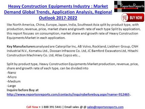Global Heavy Construction Equipments Market 2017-2022 Growth, Trends and Demands Research Report
