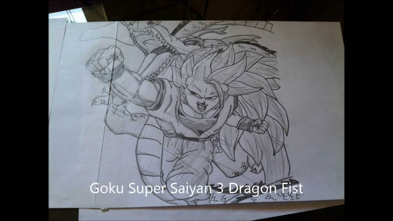How To Draw Goku Super Saiyan 3 Dragon Fist Ssj3 Dragon Ball Z 孫悟空 スーパーサイヤ人 龍拳 Akira Toriyama Youtube
