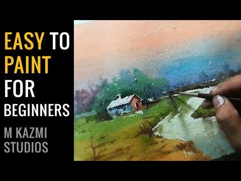 Easiest demo for beginners   Watercolor painting tutorial for beginners