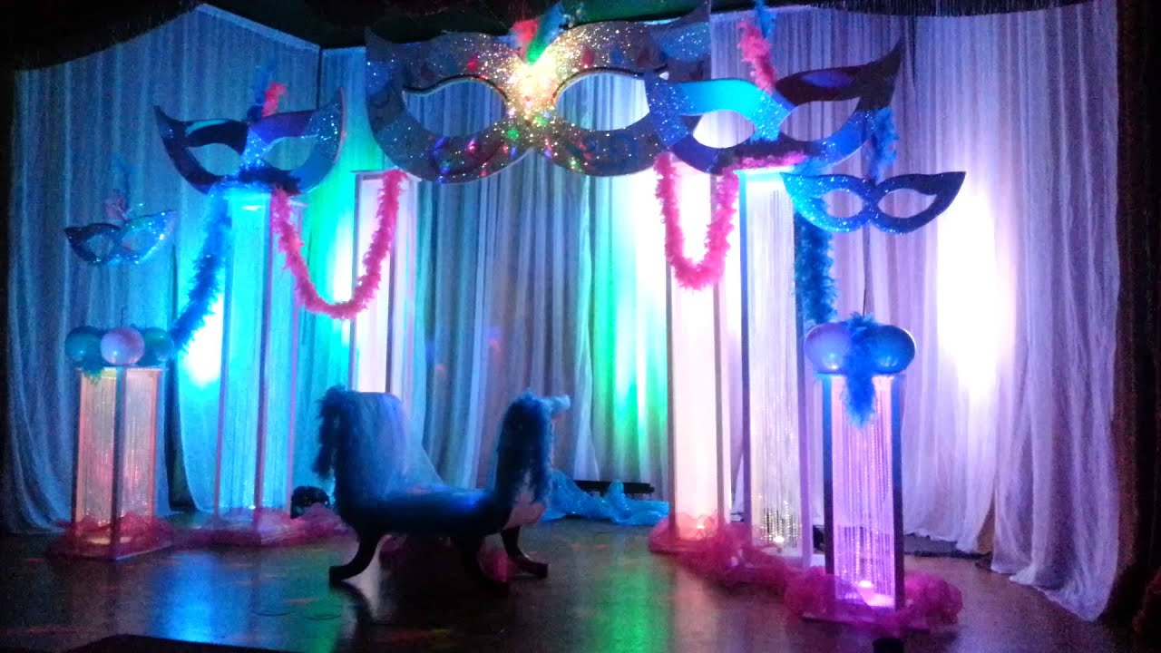 Masquerade party theme by party professionals usa youtube for R b party decorations