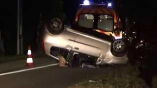 Accident.Crash.Tonneau Punto.Route de Vienne/Beaurepaire (38).Pompier en action.funny video