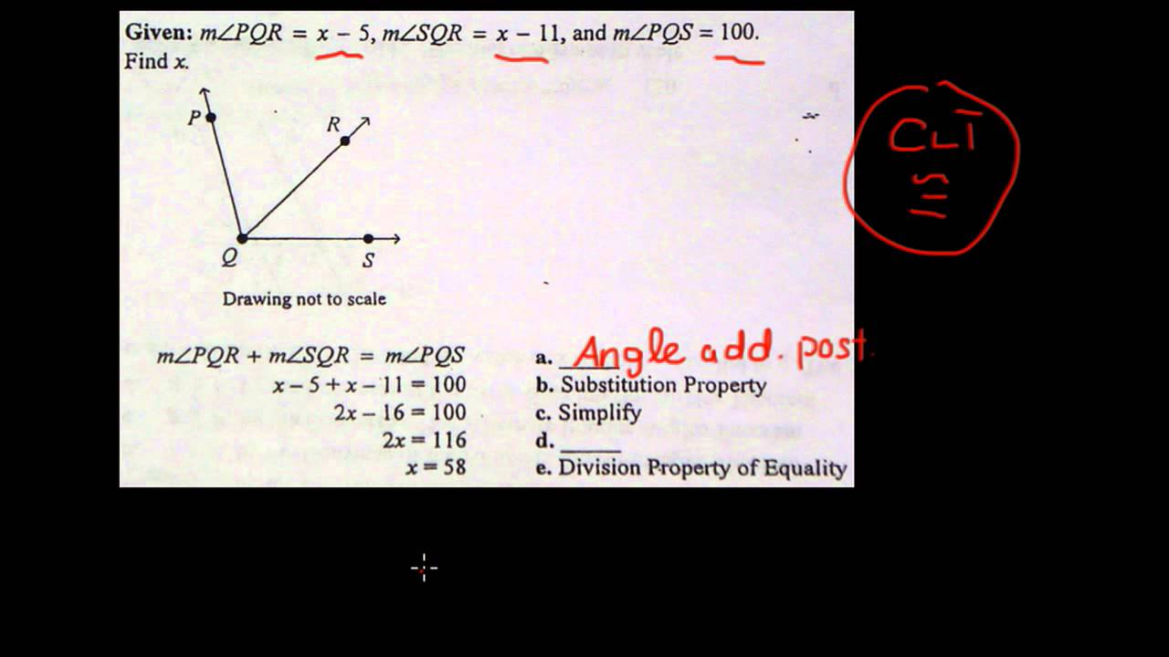 worksheet Angle Addition geometry ch 2 proof using angle addition postulate youtube postulate