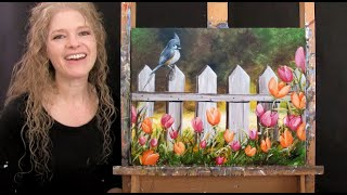 Learn How to Paİnt TITMOUSE AND TULIPS with Acrylic - Paint and Sip at Home - Step by Step Tutorial