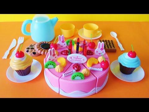 Toy birthday fruit cake cupcakes cookies tea party playset velcro