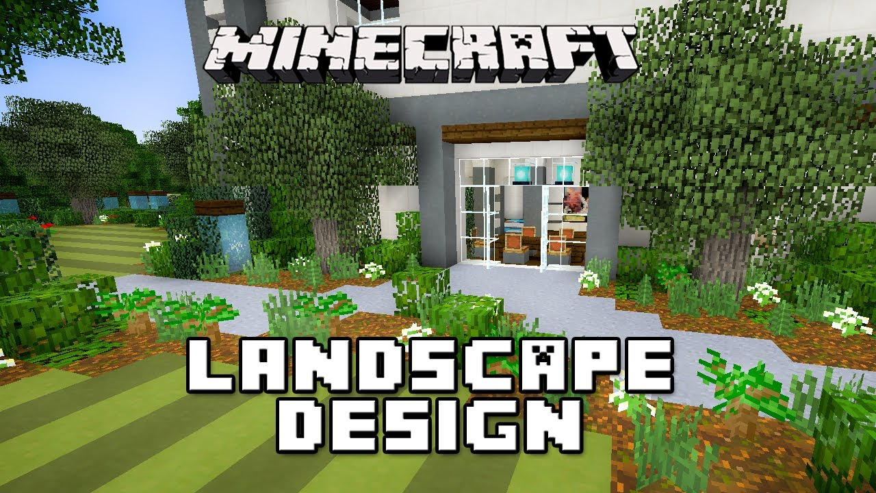 minecraft tutorial garden landscape design modern house build ep 25 youtube