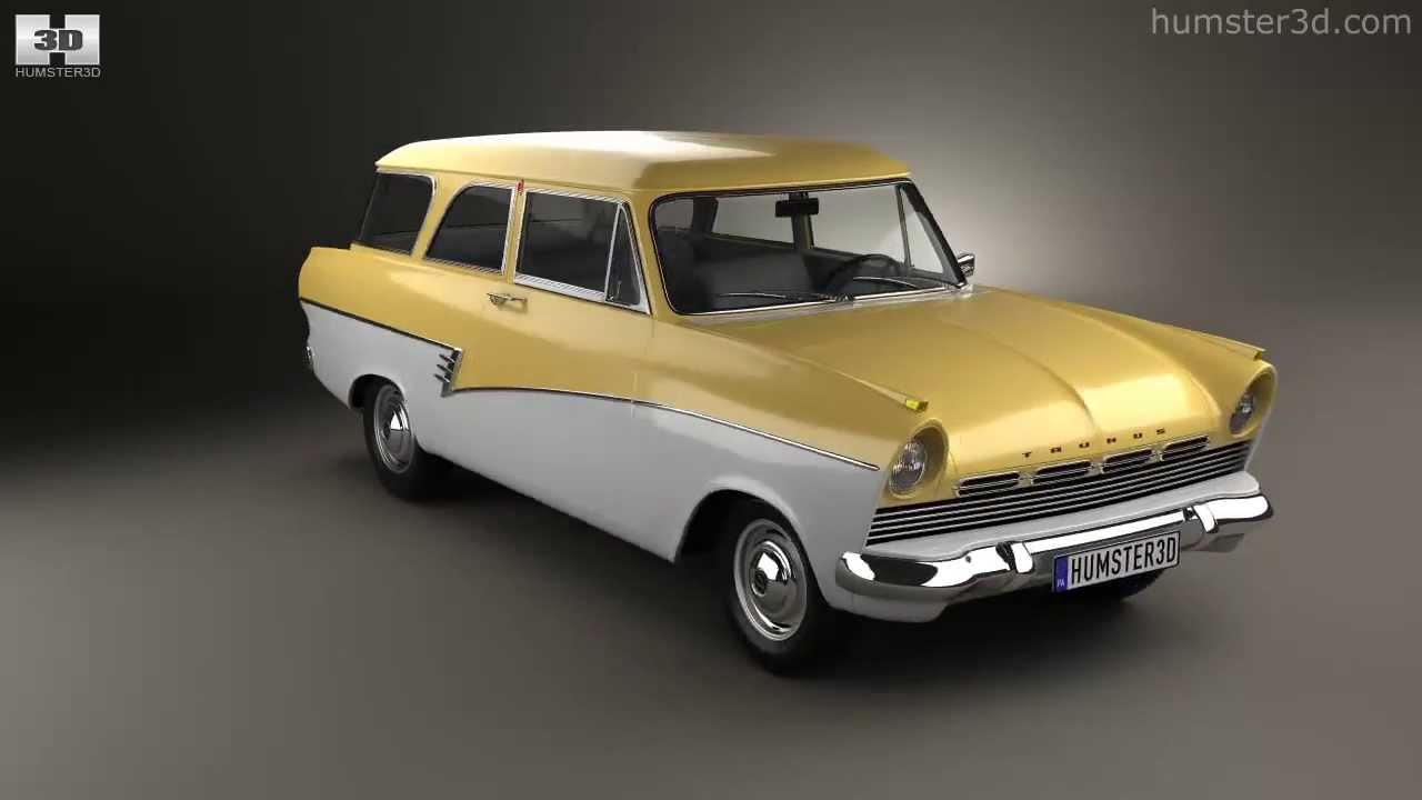 ford taunus p2 17m kombi 1957 by 3d model store youtube. Black Bedroom Furniture Sets. Home Design Ideas