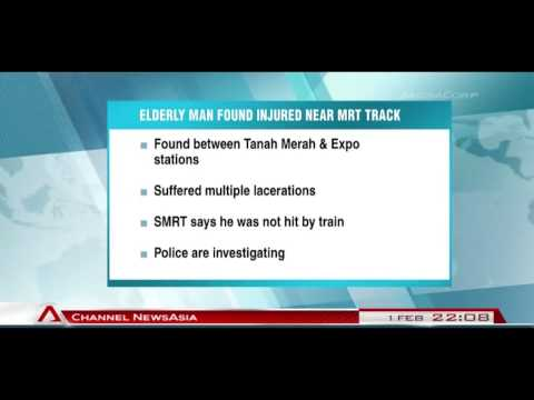 Elderly man found injured at Expo MRT station not hit by train - 01Feb2014