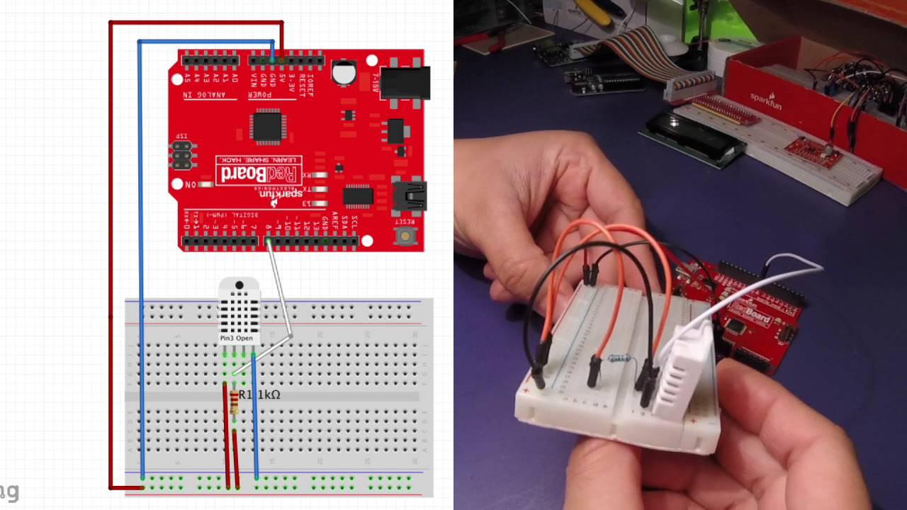 Arduino Dht22 Sensor Tutorial Sparkfun Redboard Youtube Wiring Board