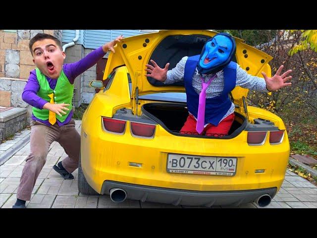 MONSTER Mr. Joker on Opel CLIMBED into TRUNK of Sports Car VS SCARED Mr. Joe on Camaro 13+