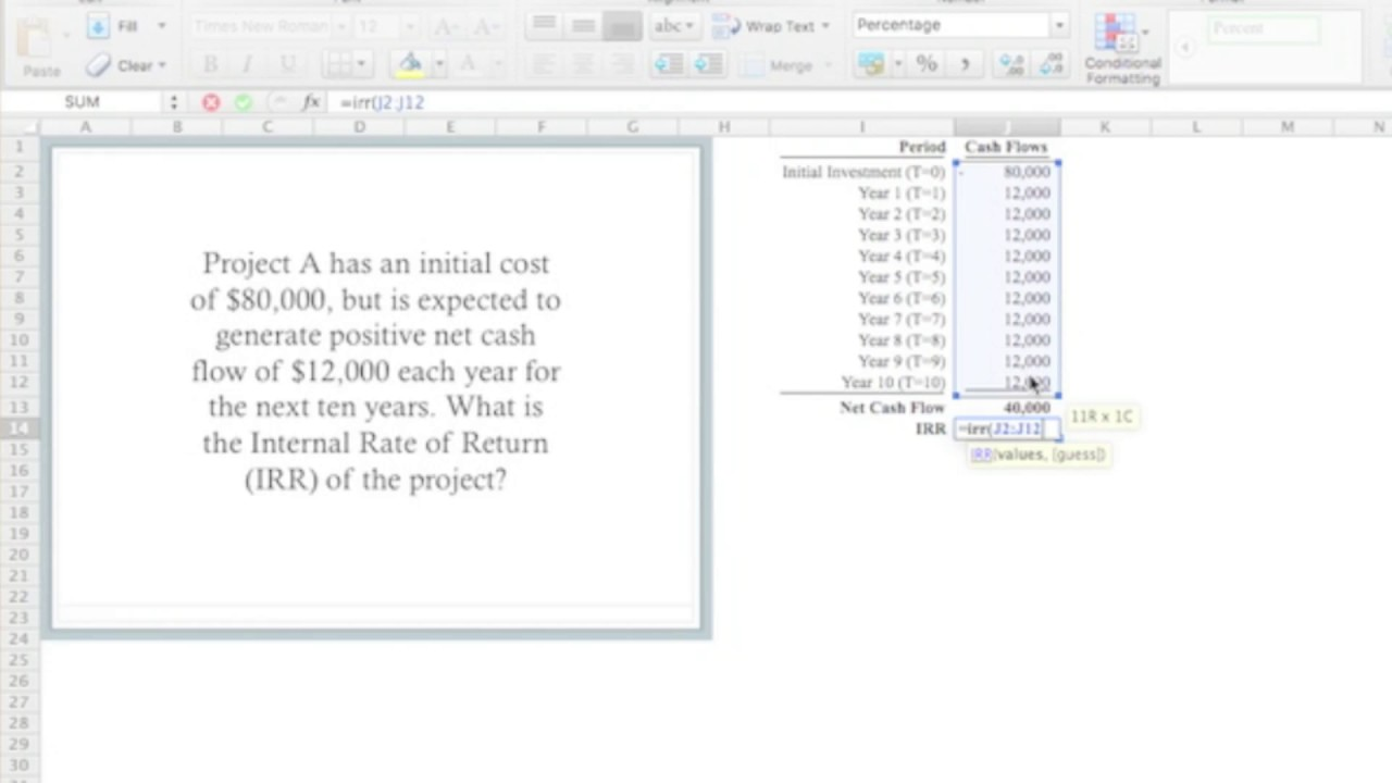 Calculate irr using excel youtube calculate irr using excel alramifo Images